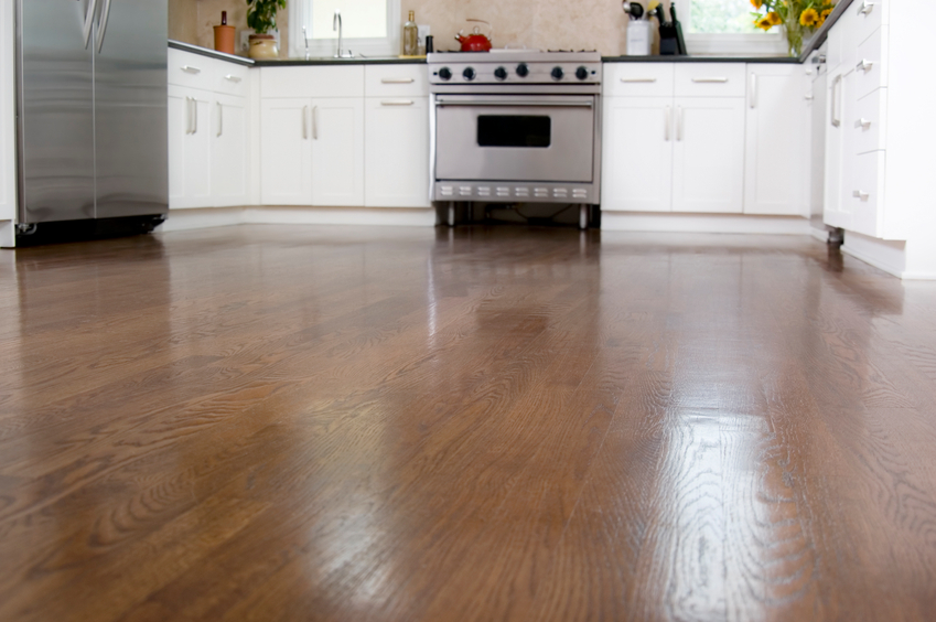 Hardwood floors in a custom kitchen.  Focus on floor.